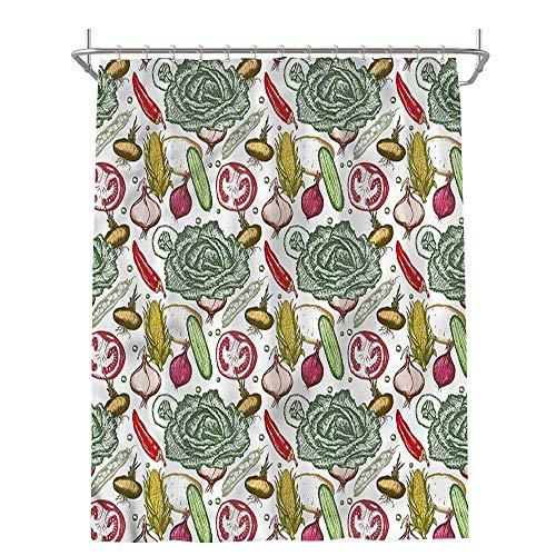 Jiahong Pan Vegetables,Shower Curtain Set Onions Red Pepper Kale Pleasing Peculiar Design,Multicolor,W60 xL72