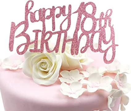 Tremendous Amazon Com Sunny Zx Rose Gold Glitterhappy 18Th Birthday Cake Funny Birthday Cards Online Fluifree Goldxyz