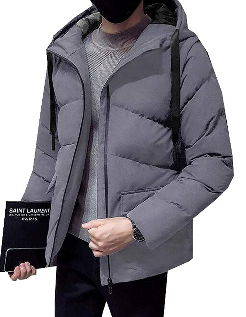 Jotebriyo Men Hooded Winter Solid Color Thicken Down Quilted Jacket Coat Outwear