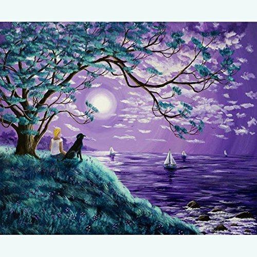 original yoga painting omwoman yoga meditate. Contemporary Yoga Black Lab Dog Woman Meditating Lavender Moon Seascape Zen Meditation Purple  Wildflowers Original Painting On Canvas In Yoga Omwoman Meditate I