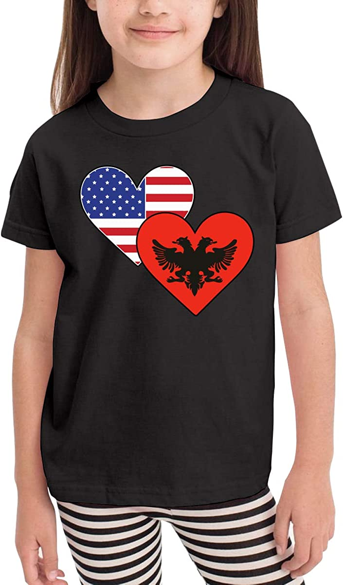 Kcloer24 Children Albanian Provisional Government American Heart Flags Personality T-Shirt Short Sleeve Tee for 2-6 Years Old