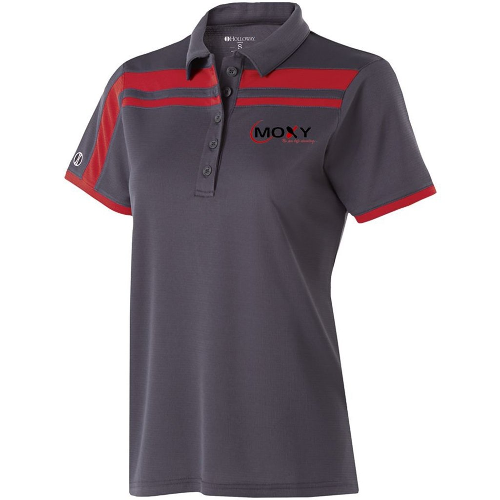 Moxy Ladies Dry Breathe Charge Polo (X-Small, Carbon/Scarlet)