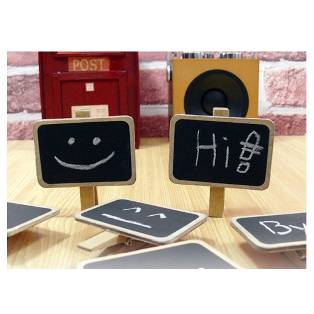 20 pcs Mini Cute Kawaii Wooden Blackboard Chalkboards Clips Holder for Paper Decoration Photo