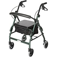 Essential Medical Supply W1650fg-1 Feather light 4 Wheel Walker with loop Hand Brakes Forest, Green