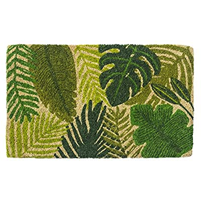 "Entryways Tropical Leaves, Hand-Stenciled, All-Natural Coconut Fiber Coir Doormat,  18"" X 30"" X .75"""