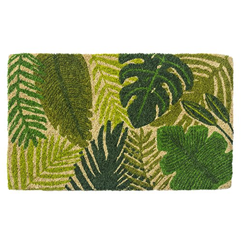 Entryways Tropical Leaves, Hand-Stenciled, All-Natural Coconut Fiber Coir Doormat,  18