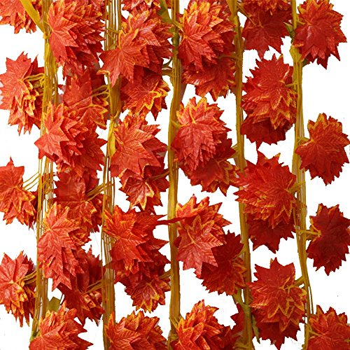 Fall Vine (Sunrisee 12Pcs Artificial Maple Vines Hanging Fall Autumn Leaves Garland Fake Flower Plants For Home Room Garden Wedding Garland Outside Decoration)