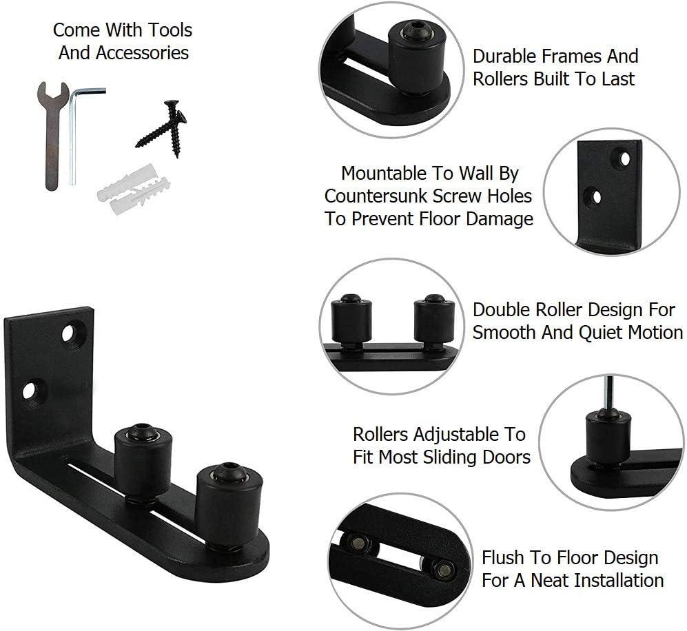 Fits Barn Door 2.75in Max Thickness | Wall Mount System Adjustable Stay Rollers 2 Pcs New Upgraded Heavy Duty Sliding Barn Door Floor Guides Flat Bottom Design Hardware 2 Pcs, Full kit