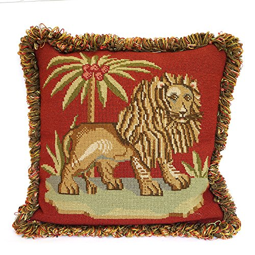 (The Lion Needlepoint Tapestry Kit from Elizabeth Bradley premium English needlework project on red background 10 mesh canvas with 100% wool yarns. Victorian Animals Collection.)