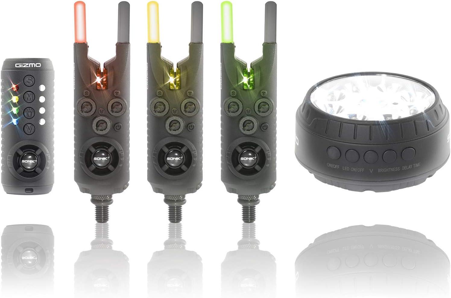Sonik Gizmo Morsure Alarmes Et Récepteur Set hameçons Lampe Noir HC0003