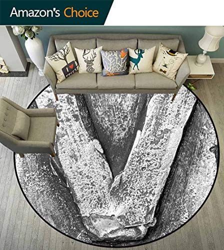 Letter V Round Rug Bathroom,Cracked Rusty Featured Vintage V Letter with Grunge Effects Original Alphabet Design Stain Resistant & Easy to Clean,Grey,D-79