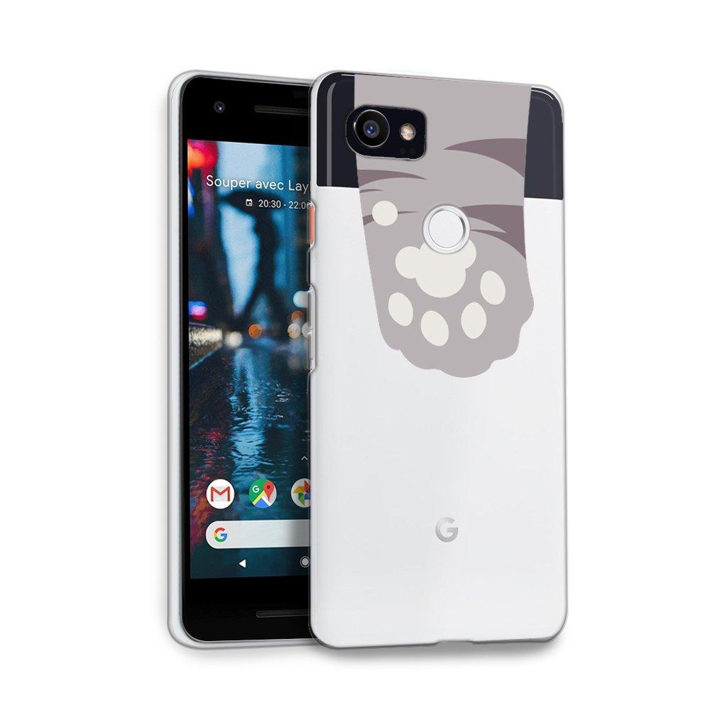 Google Pixel 2 XL Case, HelloGiftify Grey Cat Paws Cute TPU Soft Gel Protective Case for Google Pixel 2 XL