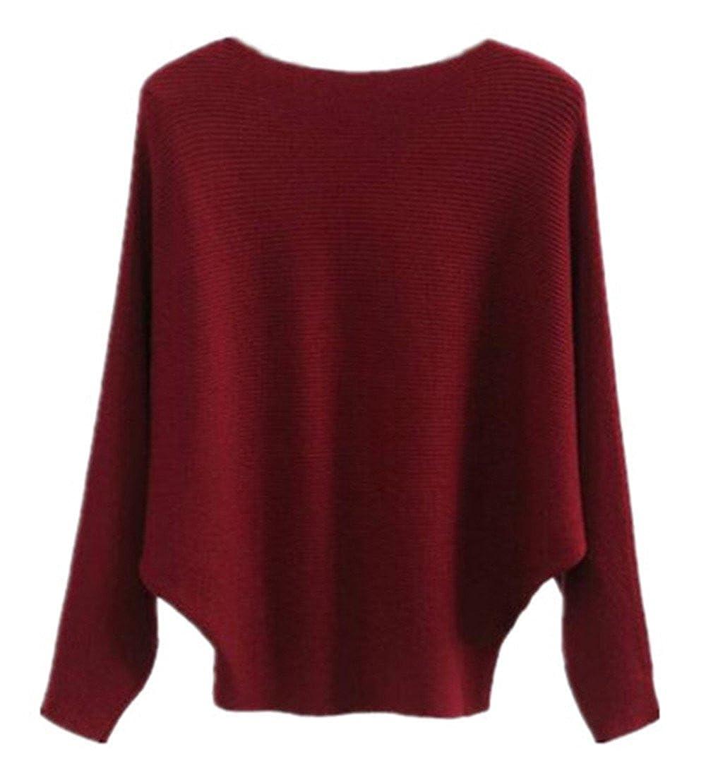 BESTHOO Pullover Femme Knitted à Manches De Chauve-souris Casual Chic Sweatshirt Baggy Grande Taille Couleur Unie