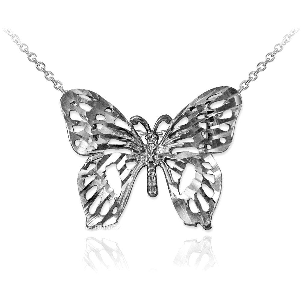 LA BLINGZ 10K White Gold Butterfly Filigree DC Charm Necklace