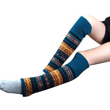 MIOIM Retro Mujer Calcetines de ganchillo altos calentadores de la pierna de la rodilla polainas calcetines: Amazon.es: Ropa y accesorios