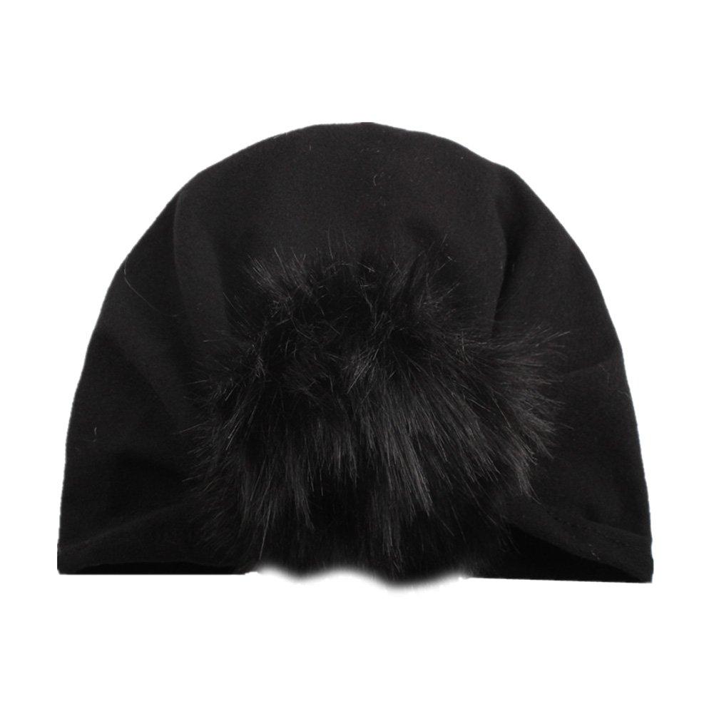 Amazon.com  BAOBAO Newborn Baby Girl Boy Infant Knot Turban Indian Cap Faux Fur  Ball Beanie Hat  Clothing d791290692fa