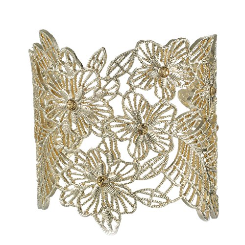 JW Collection Trendy Bracelets Women Bud Silk Series Zinc Alloy Crystal (Red Jade 14kt Bracelet)