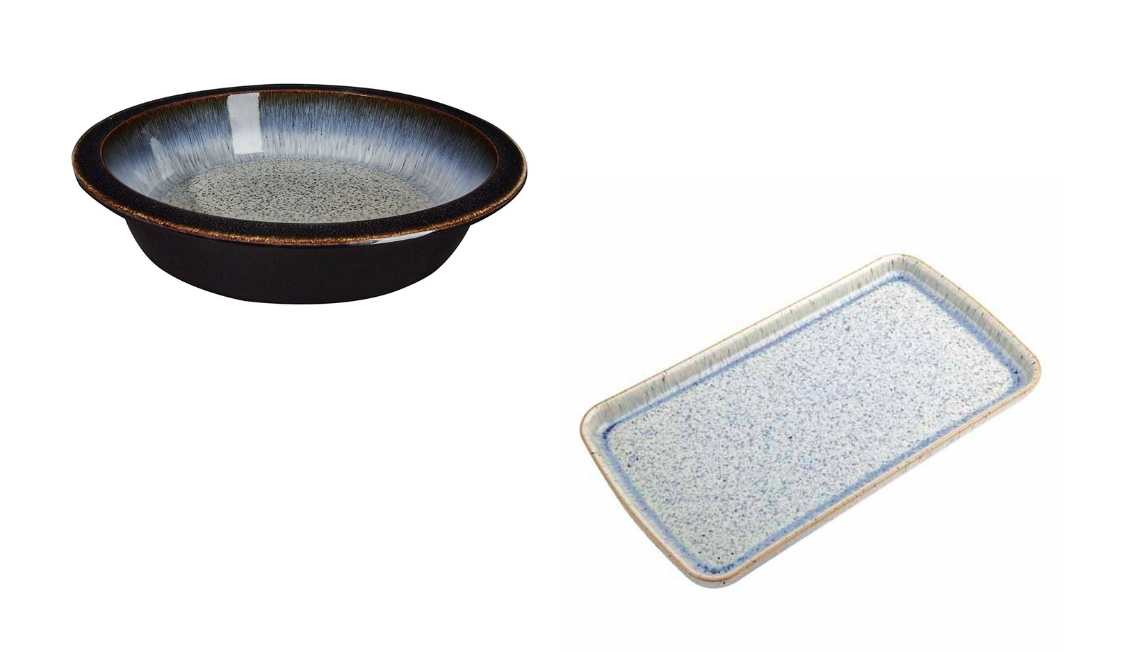Denby Halo Round Pie Dish and Rectangular Plate, Set of 2
