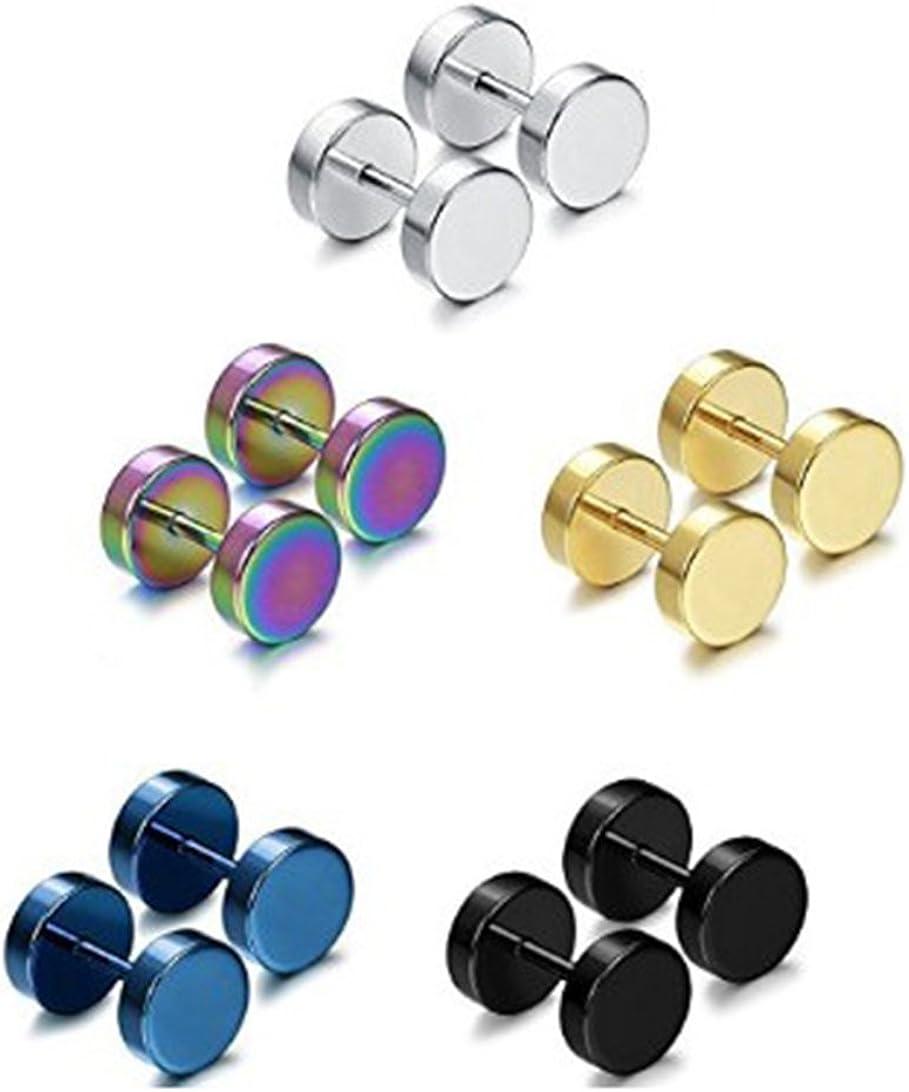 Stainless Steel Single Flare Ear Plugs Kit 5 Pairs of Fashionable Earrings Fake Plug Earrings Faux Fake Ear Plugs Gauges 5-8mm Hoop Earrings Stainless Steel Round Screw Barbell Earrings for Men Women