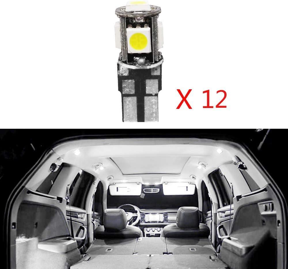 Pour 3 Series 318 320 320i 325 335 E90 E92 LED Lampe Ampoules Blanc Wedge Int/érieur De Voiture Lumi/ère D/ôme Feux De Plaque Dimmatriculation Canbus Anti Erreur 12V Pas De Polarit/é Con/çu 12 Pi/èce