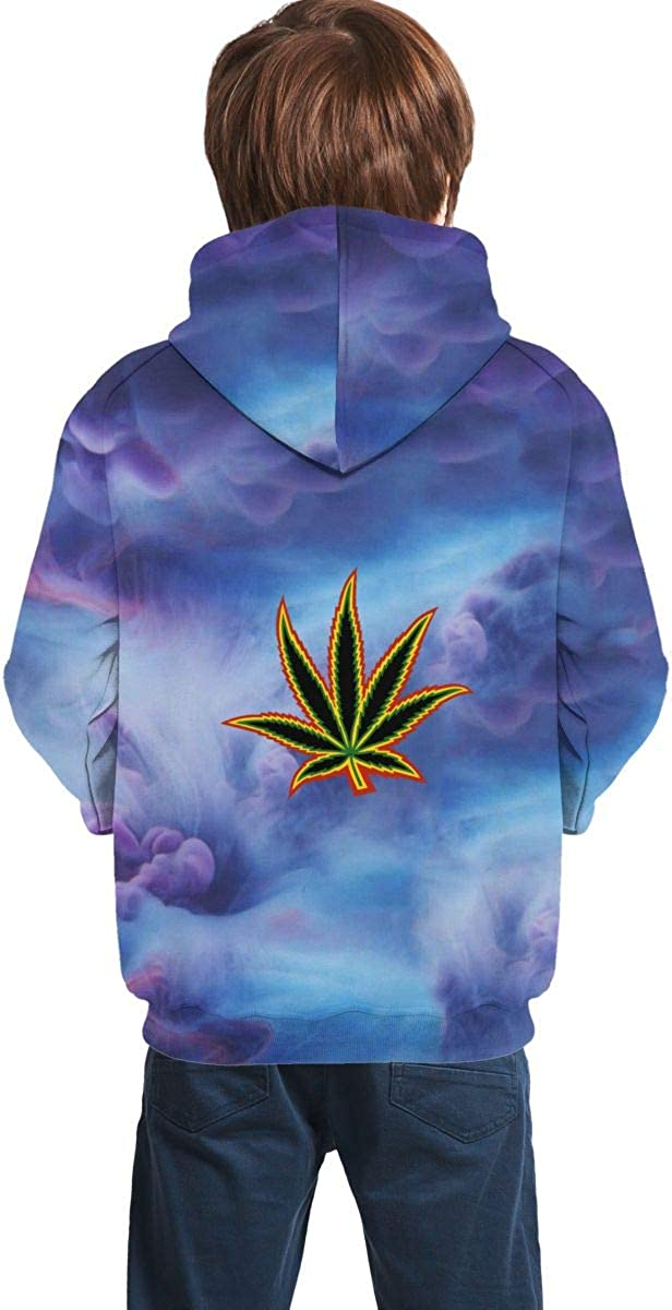 Marijuana Weeds Flat Sweatshirts Sportswear with Kangaroo Pockets for Teen Girls Boys