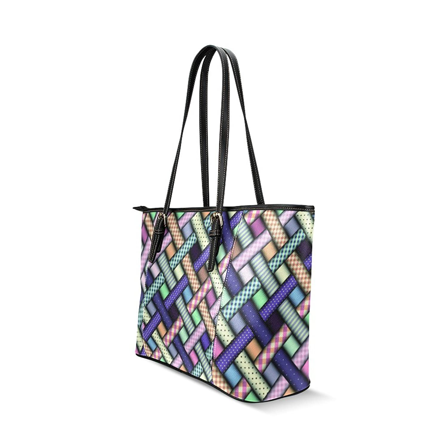 Abstract Plaid Diagon Custom PU Leather Large Tote Bag/Handbag/Shoulder Bag for Fashion Women /Girls