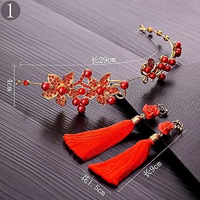 XPY&DGX Accessoires De Cheveux De Mariée En Épingle À Cheveux De Mariage,Coiffe de mariée toast rouge vêtements cheveux accessoires set tête fleur bijoux mariage chinois accessoires