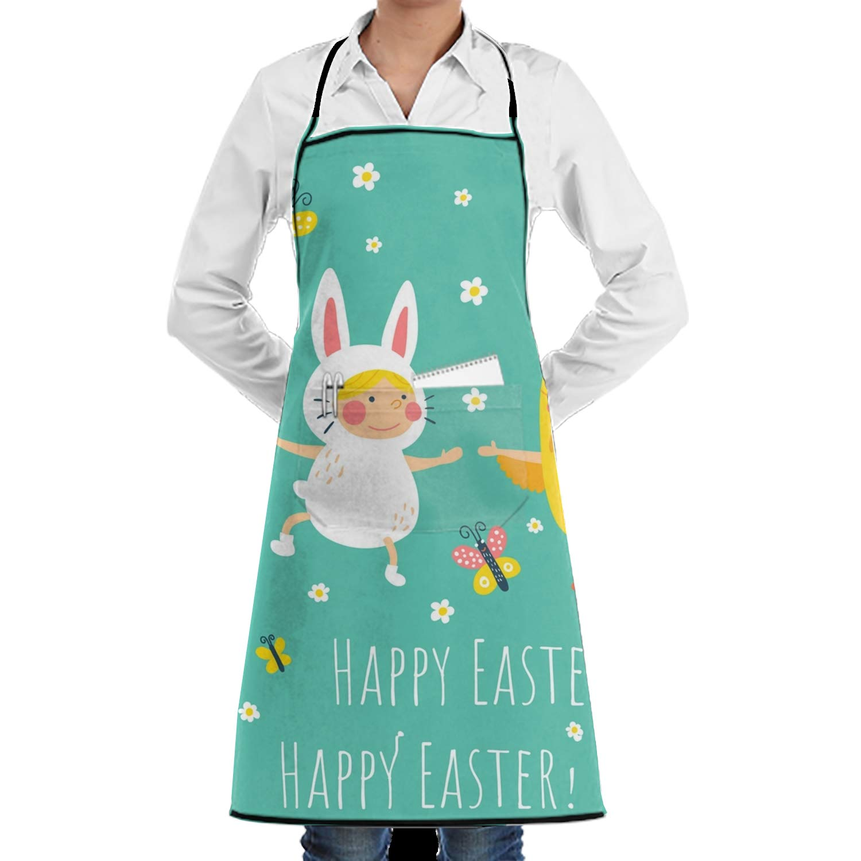JONHBKD 面白い雄鶏 スタイリッシュなエプロン ポケット付き 丈夫 ポリエステル キッチン 料理 クリーニングエプロン Onesize yh_009_2089286  Easter Bunny Chicken6 B07GGS694F