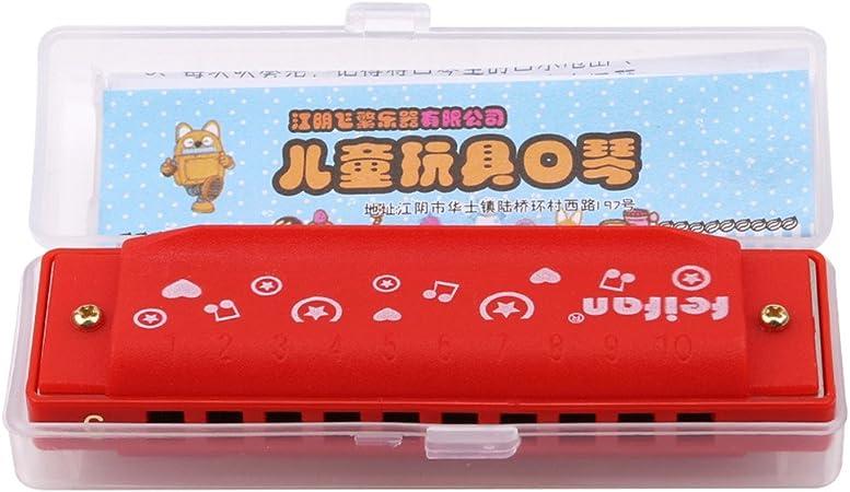 VWH plastique Harmonica 10 Trous Musical Jouet Harmonica Enfants Formation Instrument D/ébut /Éducatifs /Éducatifs Musique Jouet Pour Enfants Rouge