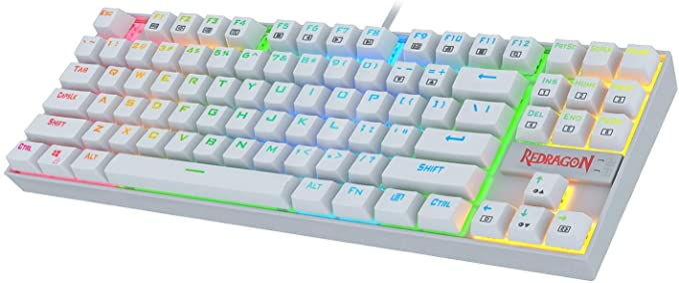 Redragon K552RGB KUMARA White, Teclado Mecánico Tenkeyless, interruptores azules, Reforzado, Retroiluminado RGB Distribución INGLES- Color Blanco- PC ...
