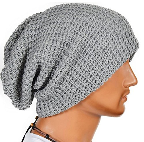Unisex Slouchy Winter Hats Knitted Beanie Caps Men Women Soft Warm Ski (Knit Dog Ear Hat)