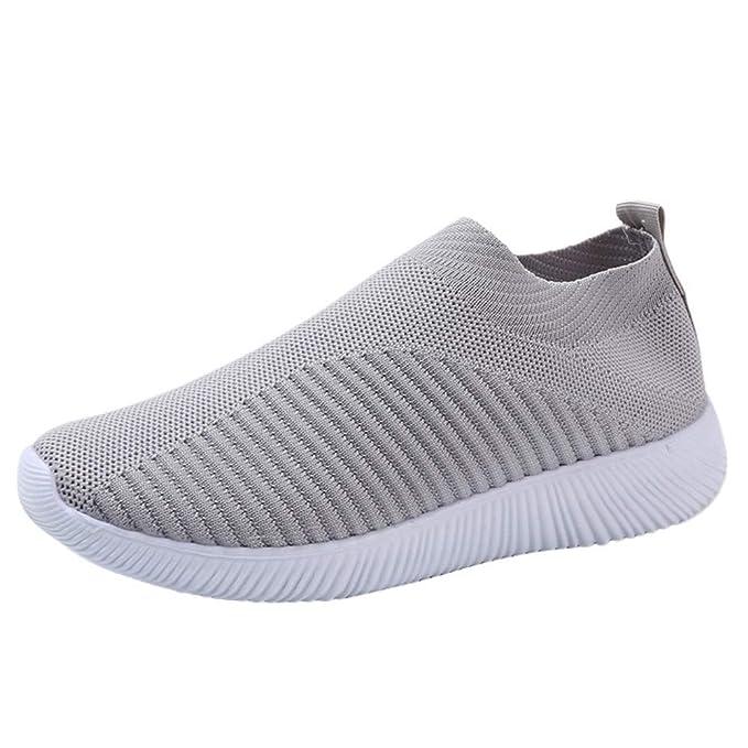 BaZhaHei-Zapatillas Zapatillas de Mujer Deporte Planas de Malla Transpirable Zapatos Casuales de Zapatos de