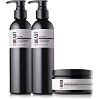 Mens Hair Products Essentials Set - Tingle Shampoo, Caffeine Conditioner, Firm-Hold Matte Finish Hair Styling Clay - Anti-DHT Tea Tree Oil Peppermint Menthol Green Tea Ginseng Hemp - Tame the Beast
