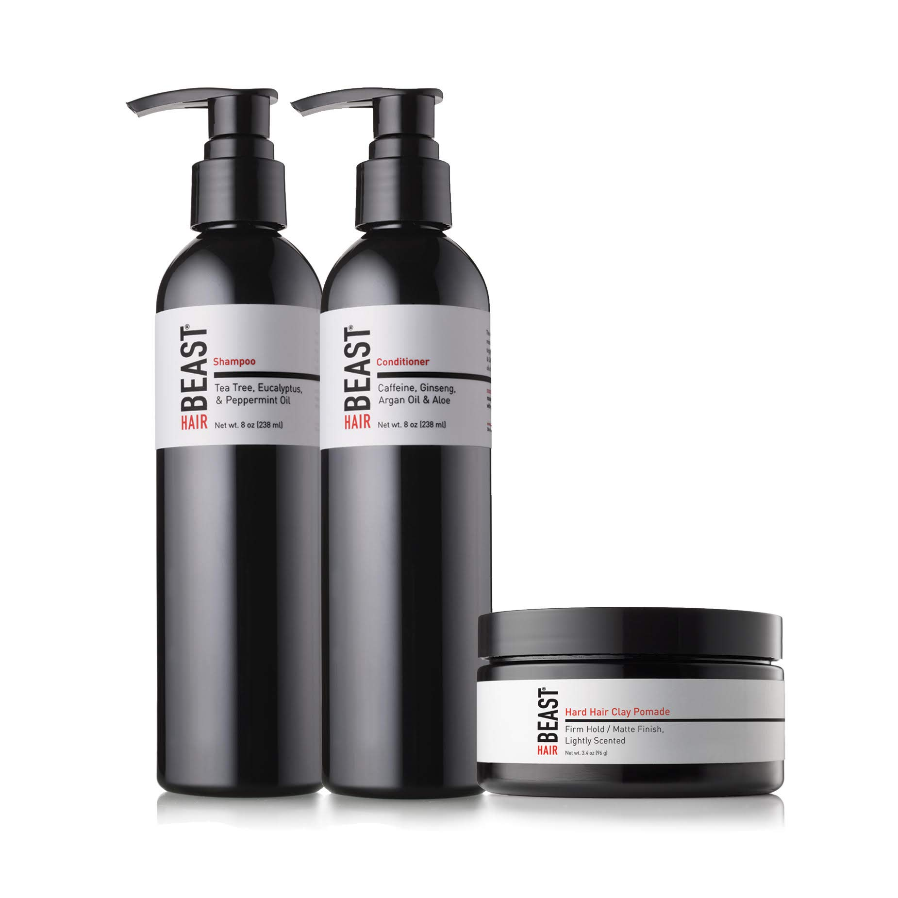 Mens Hair Products Essentials Set - Tingle Shampoo, Caffeine Conditioner, Firm-Hold Matte Finish Hair Styling Clay - Anti-DHT Tea Tree Oil Peppermint Menthol Green Tea Ginseng Hemp - Tame the Beast by Tame the Beast