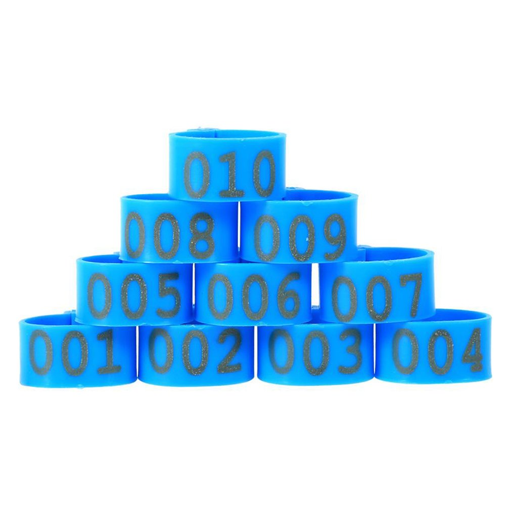 100Pcs/Bag 16Mm 001-100 Numbered Plastic Poultry Chickens Ducks Goose Bein Bands Bein Rings, Blue Color