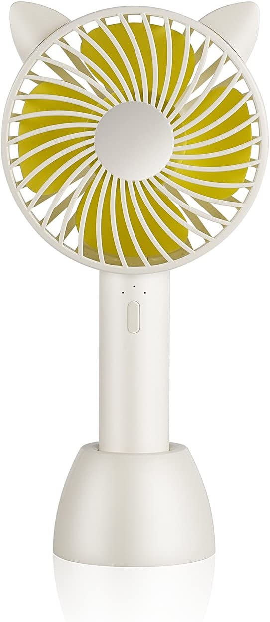 SUPOLOGY Mini Handheld Fan, 2 in 1 Personal Portable Fan with USB Rechargeable Battery Operated 3 Speed, Table Desktop Fan for Outdoor Home Office Travel
