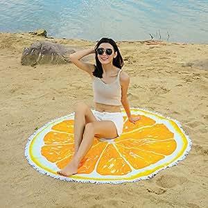 Arce & Home Custom naranja patrón - Toalla de playa redonda ...