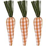 "9"" Orange Buffalo Check Plaid Carrots for Easter Spring Garden Decor, Primitive Farmhouse Decorations (Set of 3)"