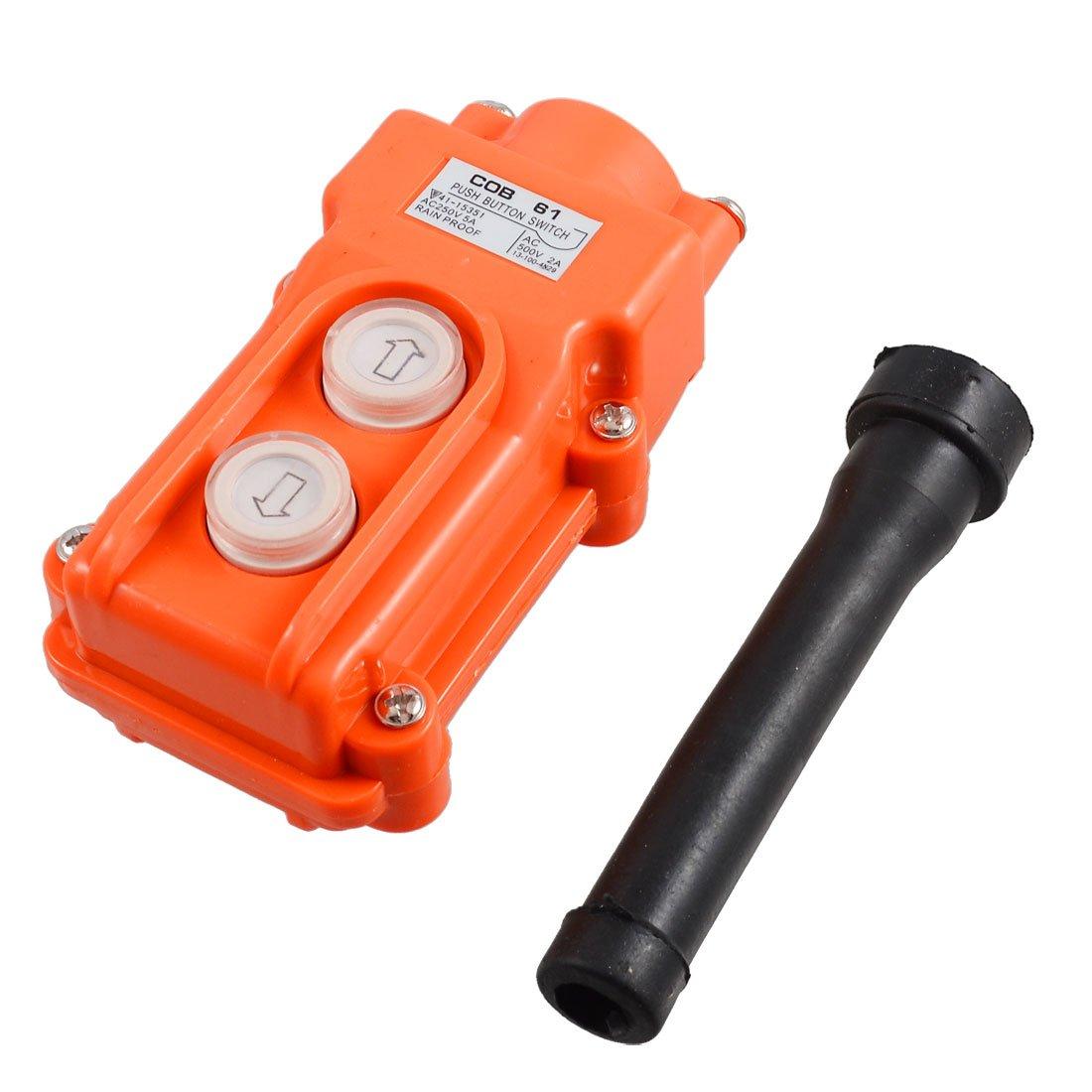 Uxcell a12060500ux0973 2 Ways Hoist Crane Push Button Switch, 250V, 5 Amp, 500V, 2 Amp, Orange