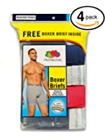 Fruit of the Loom Men's Stripe/Solid Assorted Boxer Briefs(Pack of 4)