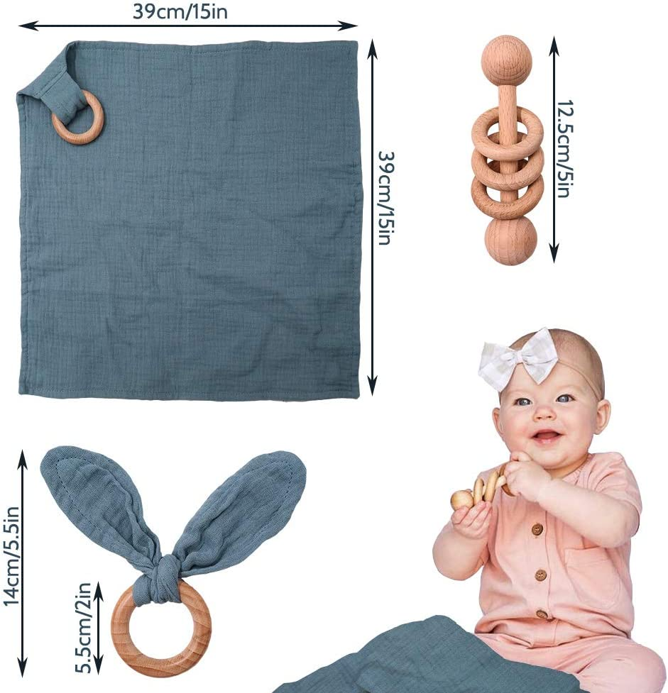 Baby Lovey Navy Blue 100/% Cotton Wood Rattle Baby Shower Gift 3 Pack Montessori Gift Teether Ring Gender Neutral Double Gauze