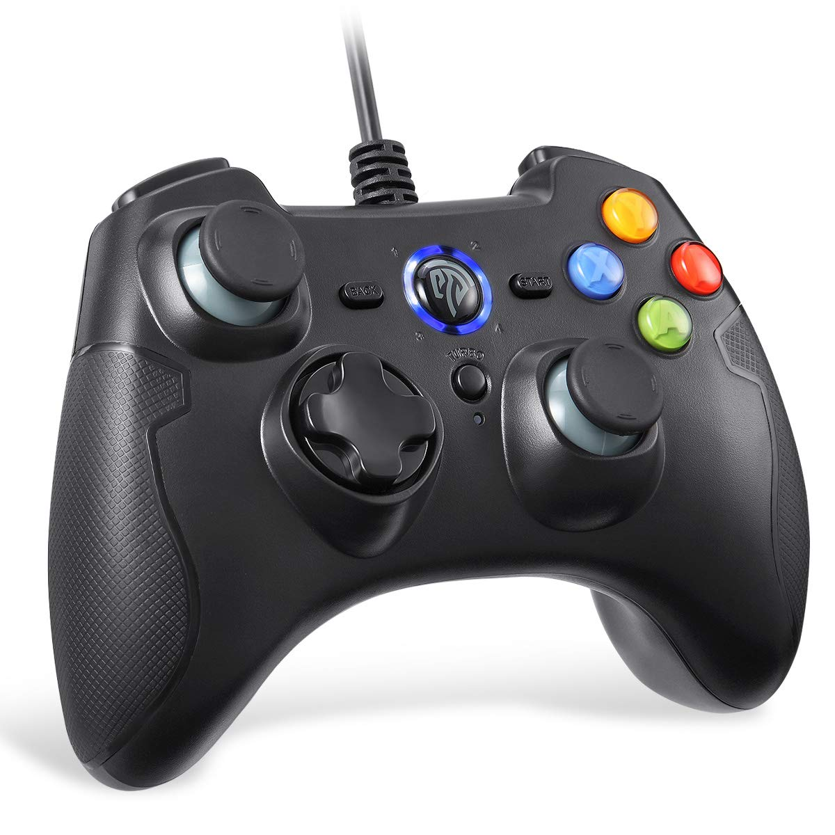 PC Controller Wired, EasySMX Wired USB Game Controller Joystick with Dual-Vibration Turbo and Trigger Buttons for Windows/Android/ PS3/ TV Box(Black)