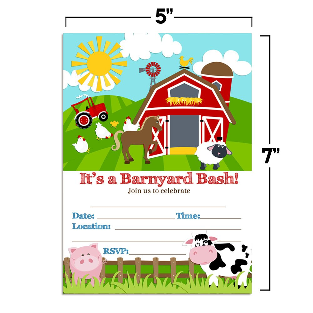 Barnyard Bash Farm and Barn Themed Birthday Party Invitations, Ten 5''x7'' Fill In Cards with 10 White Envelopes by AmandaCreation by Amanda Creation (Image #5)