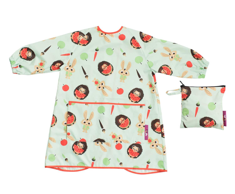 Tidy Tot BLW Long Sleeve Waterproof Apron bib for Food,Paint,Messy Play.Free Bag (Tidy Tot Toddler Bib Plum Purple)