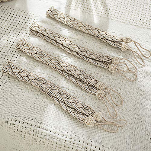 Cord Tie Backs (LIFONDER Braided Rope Curtain Tiebacks - Hand Knitting Rope Cord Drape Hold Backs Ties for Blackout Curtains and Draperies, Beige,4-Pack)
