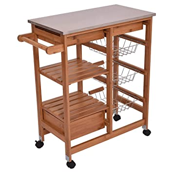 Amazon Com Nanapluz 32 7 Bamboo Rolling Kitchen Shelf