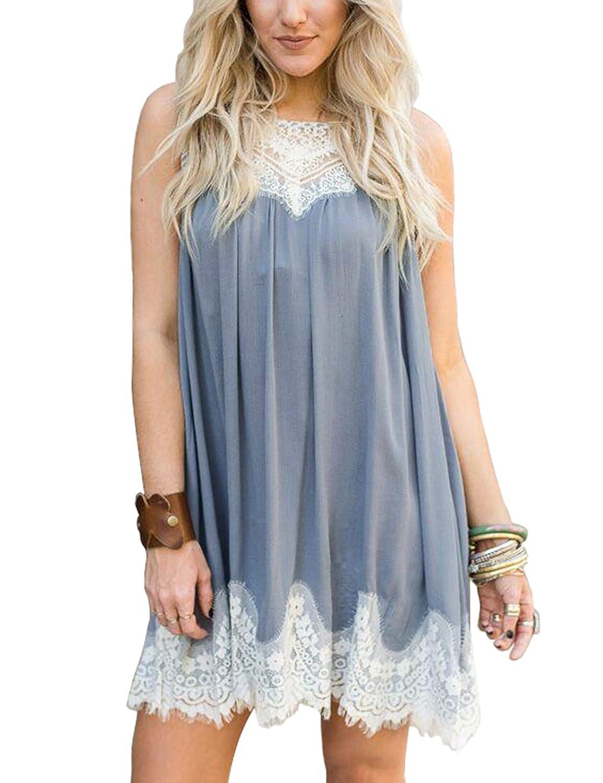Lookbook Store Women's Lace Short Sleeveless Tunic Shift Dress Beach Wear