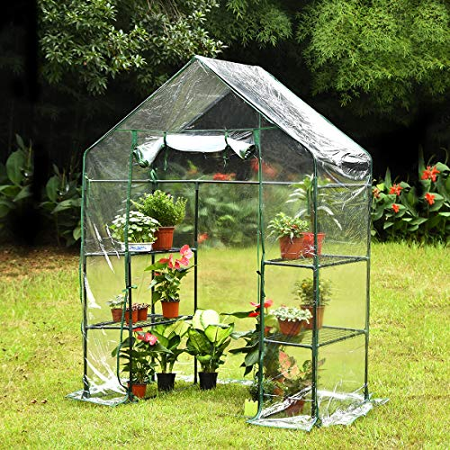 KingSo Mini Greenhouse with 4 Sturdy Shelves Portable Walk-in Plants Greenhouse for Outdoor/Indoor Gardens, Patios, and Backyards, Greenhouse kit Includes Plastic Cover, Roll-Up Zipper Door