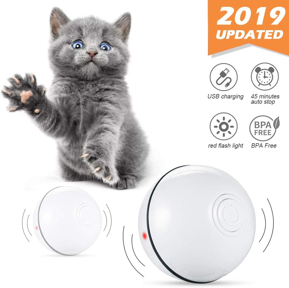 Phiraggit Juguete Gato Pelota, Juguete Interactivo para Mascotas, Bola de Gato- Carga USB Bola Giratoria Automática de 360 Grados - Batería Recargable Incorporada - para Ejercicio Animal Doméstico