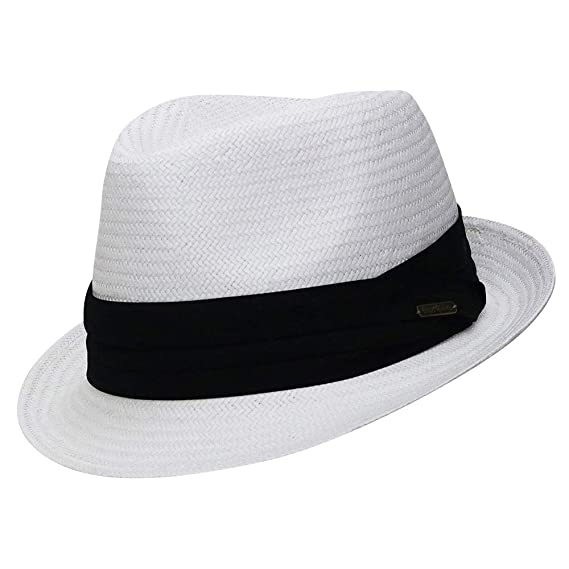 31ffe878f7c Chapeau-tendance - Trilby blanc style panama ruban noir - - Homme ...